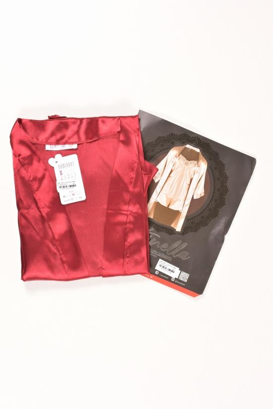 Комплект шелковый женский (цв.бордовый) (майка+шорты+халат) DEEP SLEEP Размеры в наличии : 44,46,48 арт.11064