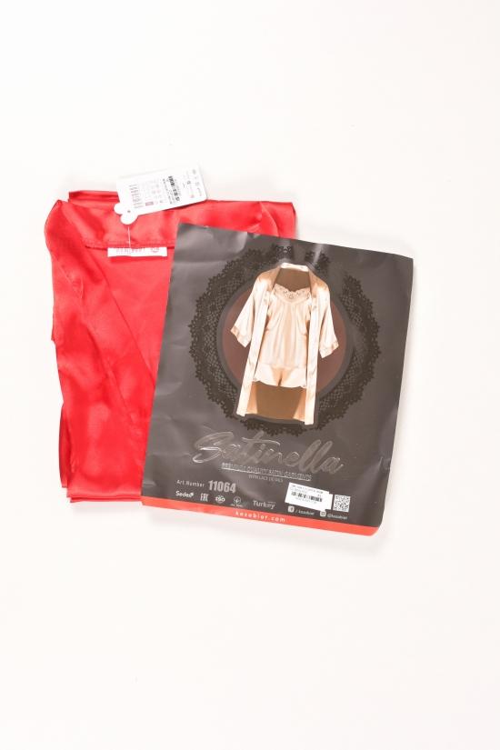 Комплект шелковый женский (цв.красный) (майка+шорты+халат) DEEP SLEEP Размеры в наличии : 44,48 арт.11064