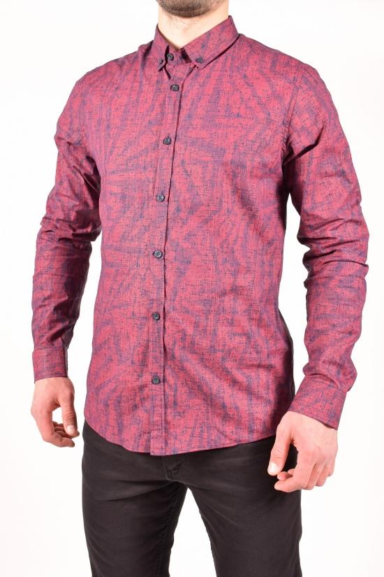 Рубашка мужская (цв.бордовый) TOMMY LIFE Размеры в наличии : 44,46,48,50 арт.T08ER-87861-01