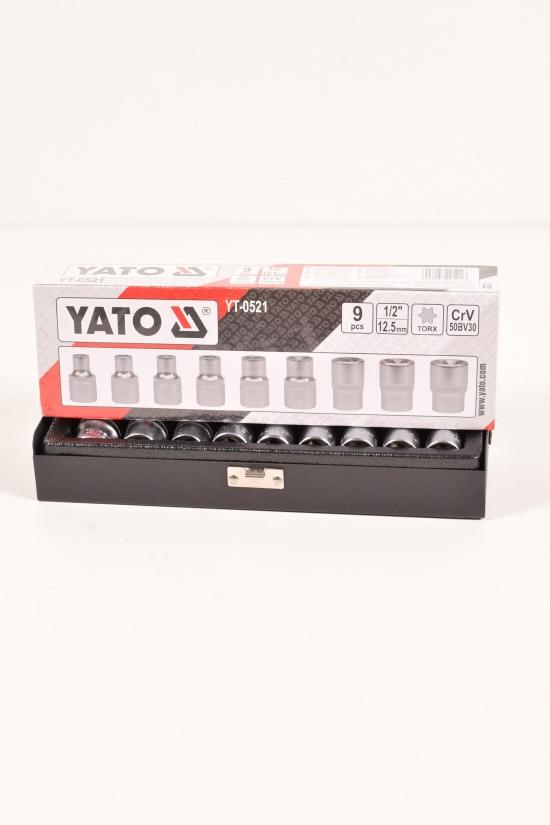 """Головки торцовые YATO """"TORX""""E10-E24 квадрат 1/2"""" набор 9 шт арт.YT-0521"""