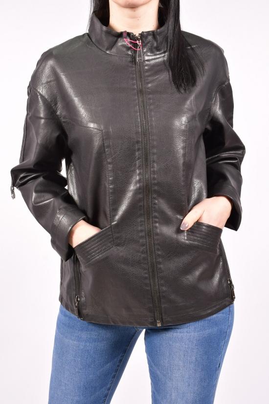 Куртка женская из кожзама (цв.черный) Angmifer Размеры в наличии : 48,50,52,54,56,58 арт.G8803