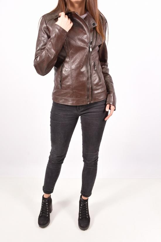 Куртка женская из кожезаменителя (цв.т.коричневый) Lanmas Размеры в наличии : 40,42,44,46,48 арт.20R6