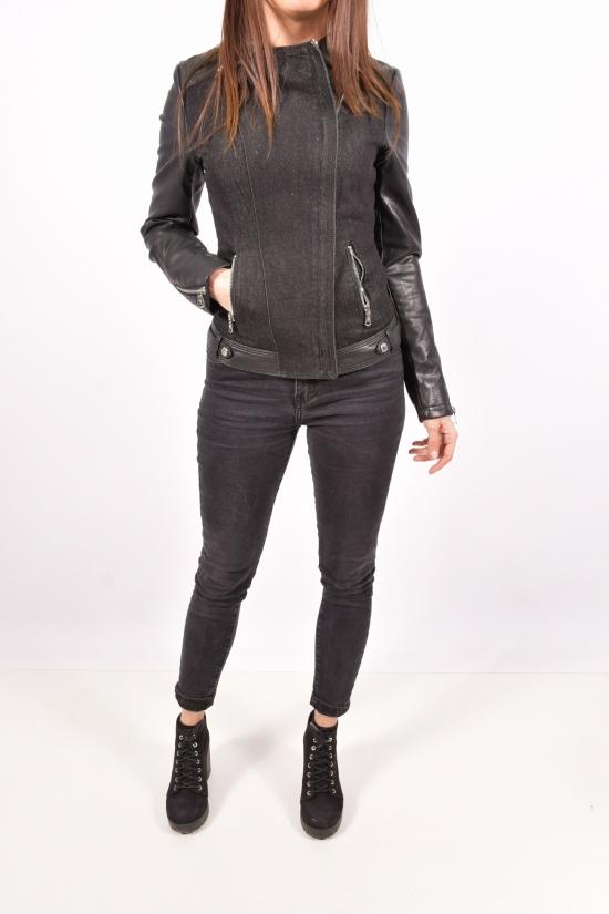 Куртка женская из кожезаменителя (цв.черный) Lanmas Размеры в наличии : 38,40,42,44,46 арт.R-803
