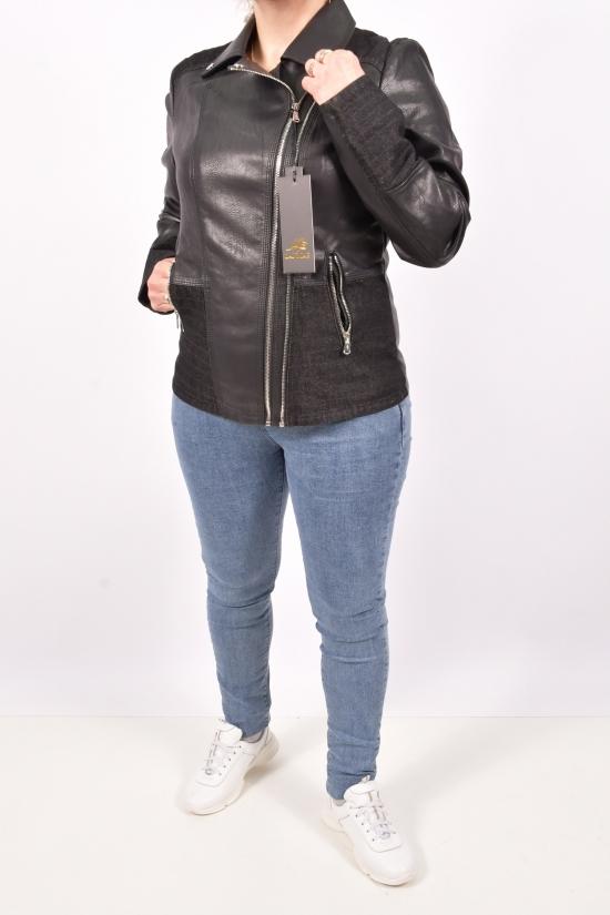 Куртка женская из кожезаменителя (цв.черный) Lanmas Размеры в наличии : 46,50,54,56 арт.R-6603