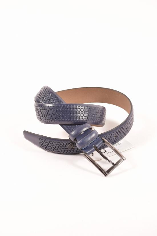 Ремень мужской кожаный (цв.т/синий) Guard ширина 3,5см. арт.K-101