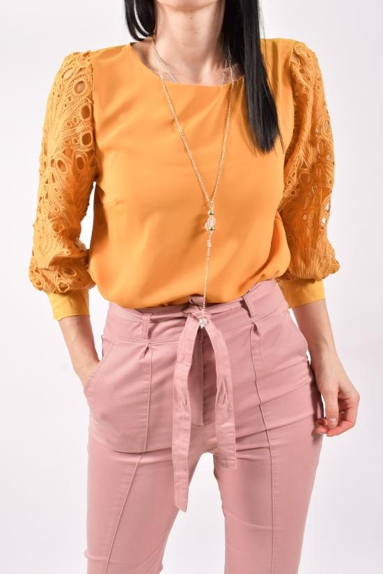 Блузка женская шифоновая (цв.горчичный) Размеры в наличии : 40,42,44 арт.9021/1
