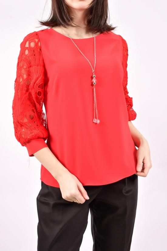 Блузка женская шифоновая (цв.красный) Размеры в наличии : 40,42,44,46 арт.9021/1