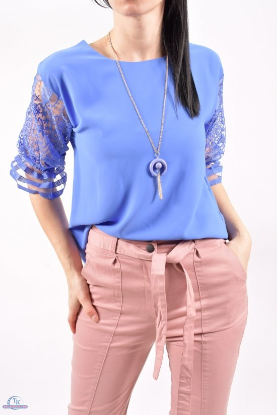 Блузка женская шифоновая (цв.синий) Размеры в наличии : 40,42,44 арт.8793/1