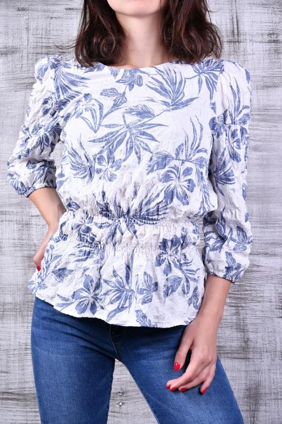 Блузка женская (цв.белый/голубой) Размеры в наличии : 40,42,44 арт.21177