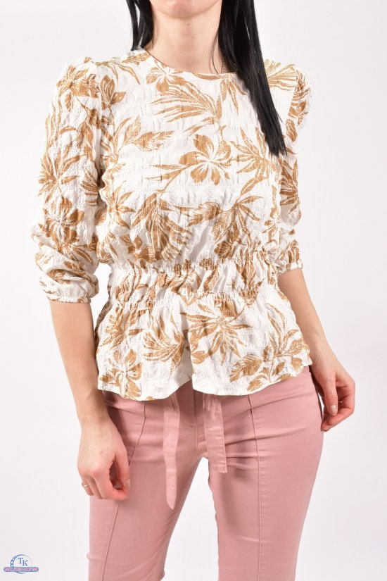 Блузка женская (цв.белый/горчичный) Размеры в наличии : 40,42,44 арт.21177