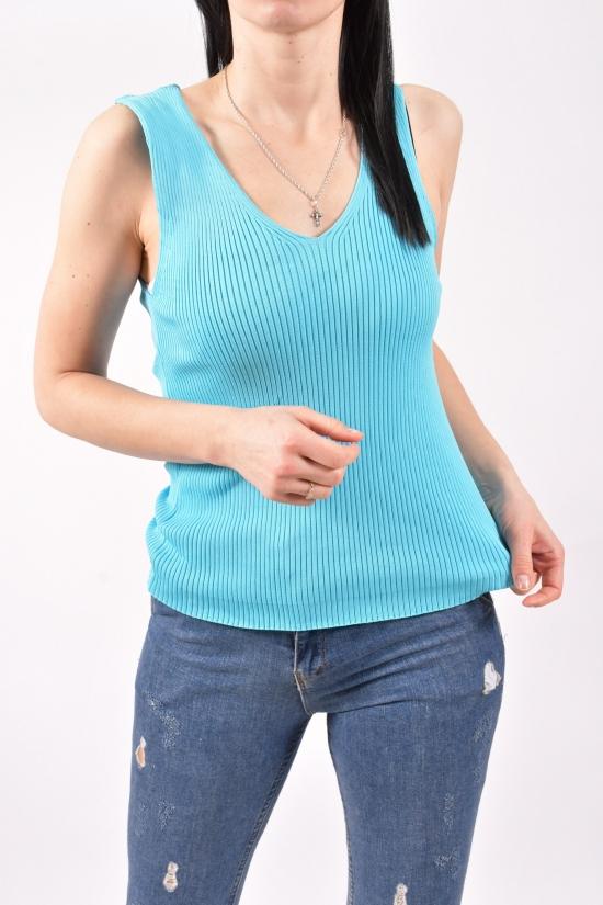Майка женская тонкой вязки (цв.голубой) размер 42-44 арт.16700