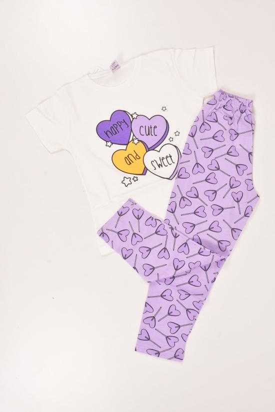 Пижама для девочки (цв.белый) трикотажная Роста в наличии : 122,128,134 арт.22868