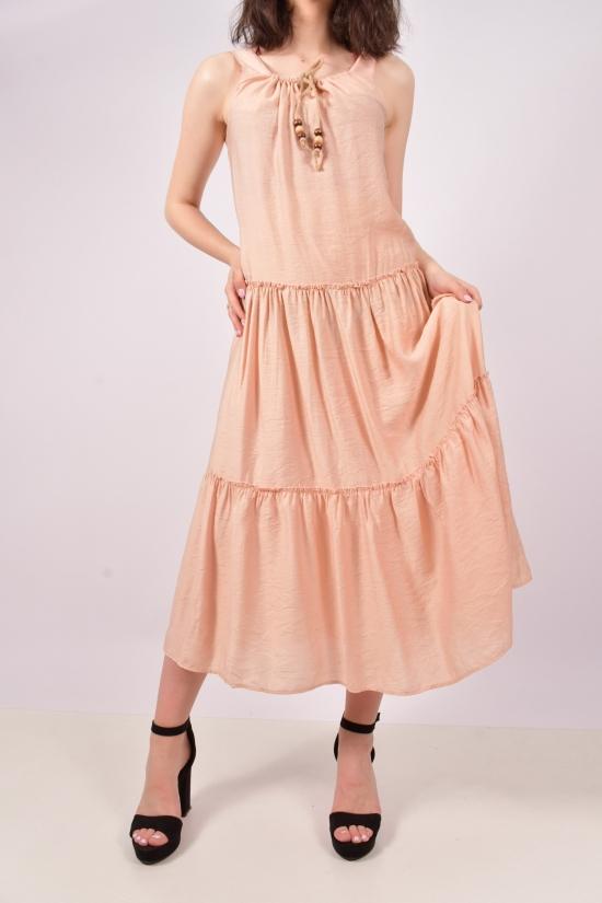 """Платье женское из ткани лён (цв.пудры) """"Karon"""" Размеры в наличии : 44, 46 арт.9894"""
