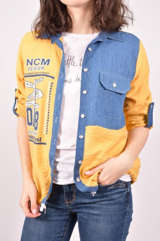"""Рубашка женская с футболкой (цв.горчичный) """"Madoy"""" Размеры в наличии : 40,44,46 арт.2191"""