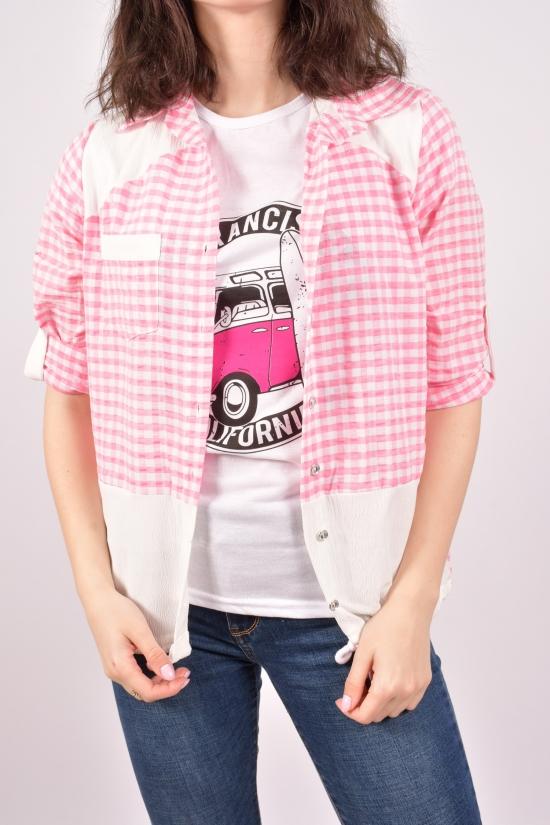 """Рубашка женская с футболкой (цв.розовый) """"Madoy"""" Размеры в наличии : 40,42,44,46 арт.2163"""