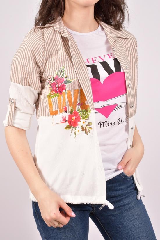 """Рубашка женская с футболкой (цв.капучино) """"Madoy"""" Размеры в наличии : 40,42,44,46 арт.2170"""