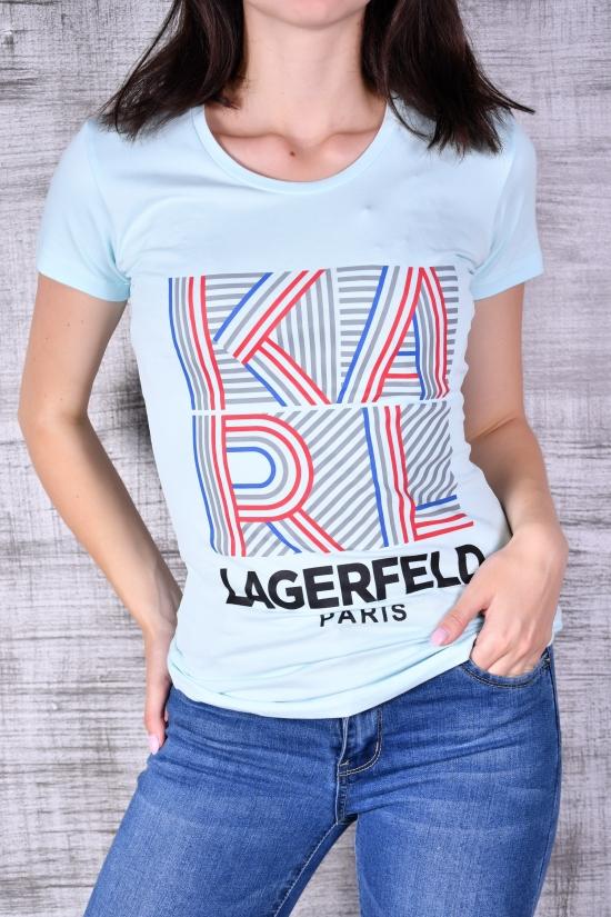 Футболка женская трикотажная (цв.бирюза) KARL LAGERFELD Размеры в наличии : 42,44,46,48 арт.7131