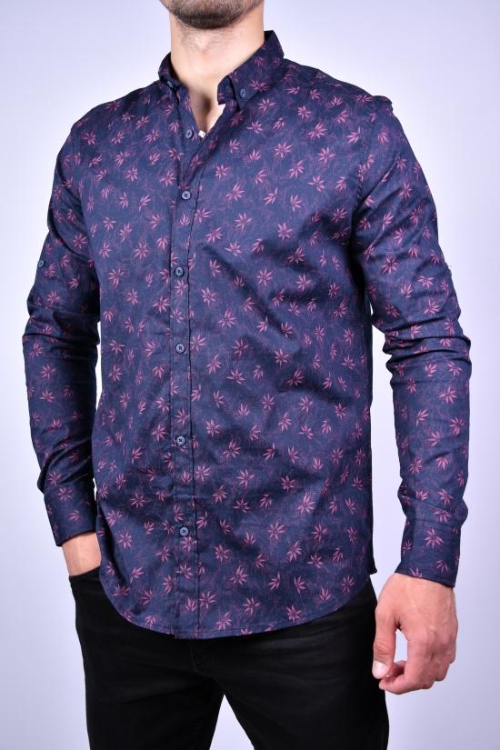 Рубашка мужская стрейчевая Slim Fit (цв.т.синий) G-PORT Размеры в наличии : 46,48,50,52,54 арт.180