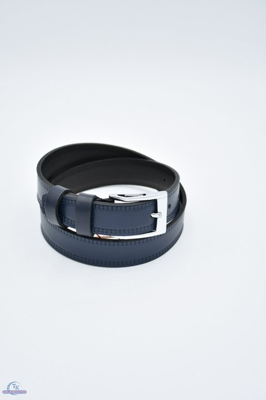 Ремень для мальчика кожаный YSK (цв.т.синий) ширина 30мм. арт.918009