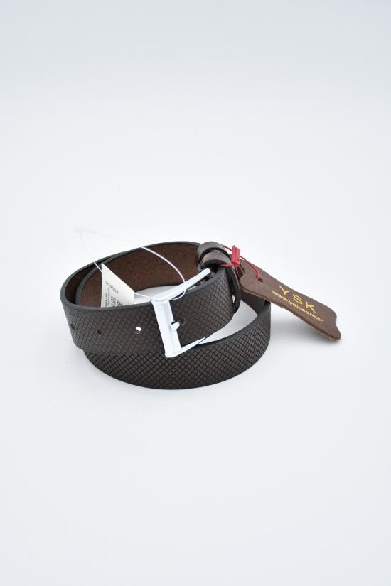 Ремень для мальчика кожаный YSK (цв.т.коричневый) ширина 30мм. арт.919552