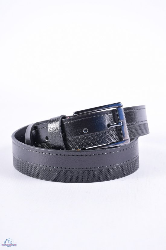 Ремень мужской кожаный YSK (цв.чёрный) ширина 35мм. арт.30031