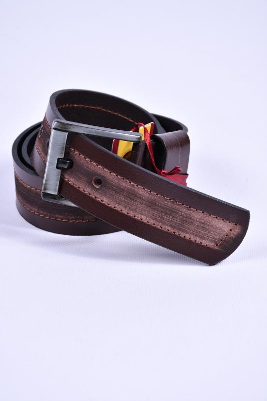 Ремень мужской кожаный YSK (цв.т.коричневый) ширина 45мм. арт.8862