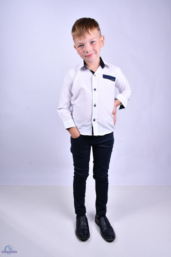 Рубашка для мальчика (цв.белый) Pitiki kids Рост в наличии : 116, 122, 128, 134 арт.009556