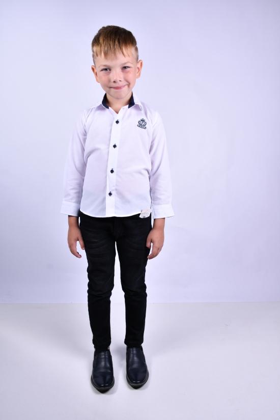 Рубашка для мальчика (цв.белый) Pitiki kids Рост в наличии : 110, 116, 122, 128 арт.009602