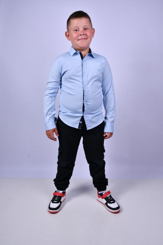 Рубашка для мальчика (цв.голубой) BOLD Рост в наличии : 128, 134, 140, 146 арт.14081