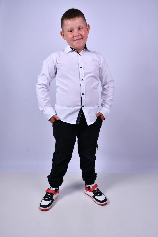 Рубашка для мальчика (цв.белый) BOLD Рост в наличии : 128, 134, 140, 146, 152 арт.14062
