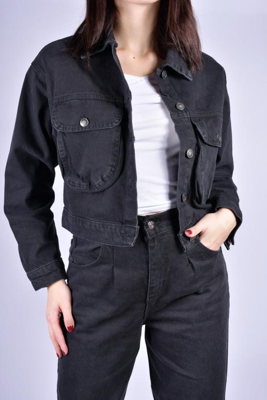 Пиджак женский джинсовый (цв.черный) OREO Размеры в наличии : 40, 42, 44 арт.5141