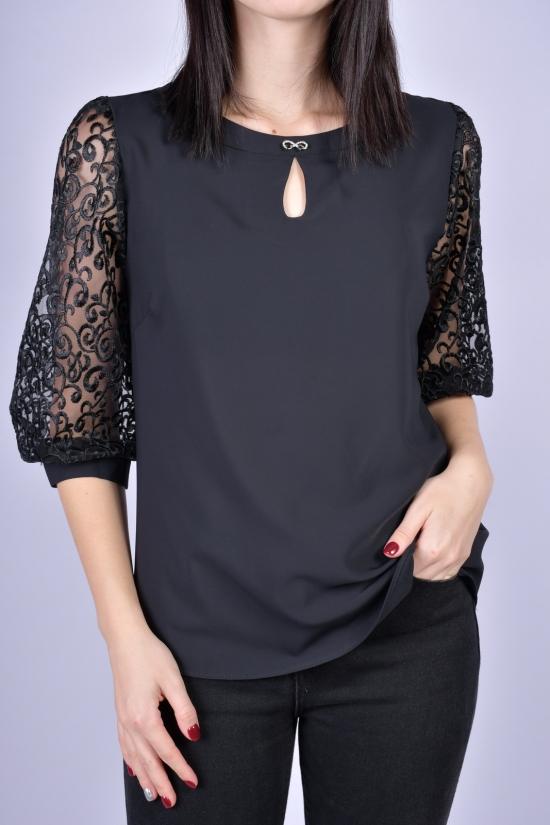 Блузка женская шифоновая (цв.черный) Размеры в наличии : 40, 42, 44, 46 арт.9035