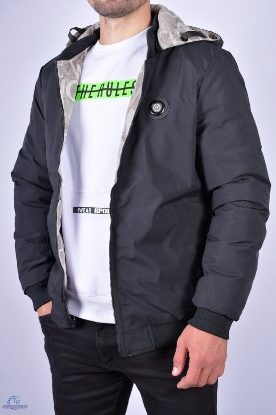 Куртка мужская демисезонная (цв.св.серый/черный) двухсторонняя Размеры в наличии : 46, 48, 50, 54 арт.KZ-010