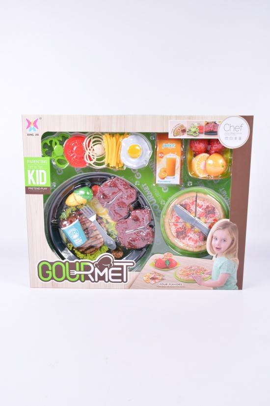 Набор продуктов (пицца, стейки, напитки продукты посудка) арт.XJ369