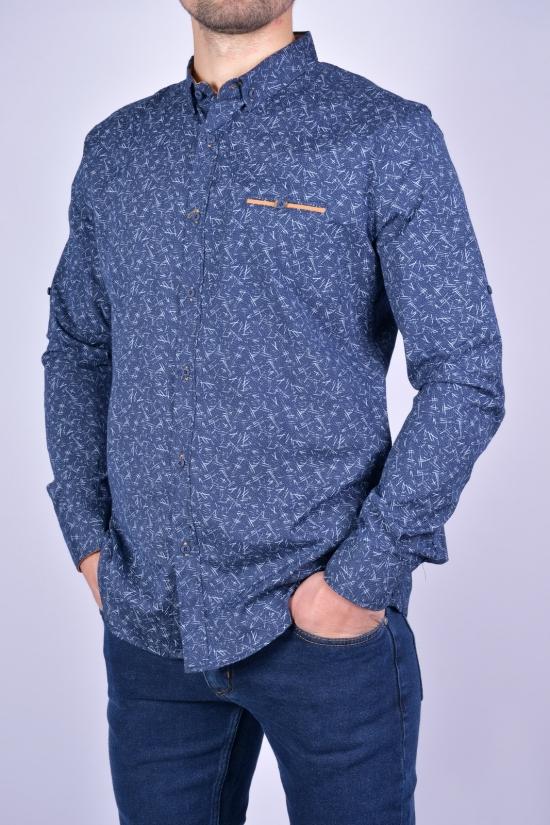 Рубашка мужская стрейчевая Slim Fit (цв.т.синий/горчичный) G-PORT Размеры в наличии : 46, 48, 50, 52, 54 арт.175