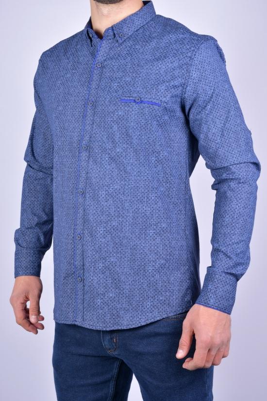 Рубашка мужская стрейчевая Slim Fit (цв.синий/т.синий) G-PORT Размеры в наличии : 46, 48, 50, 52, 54 арт.260