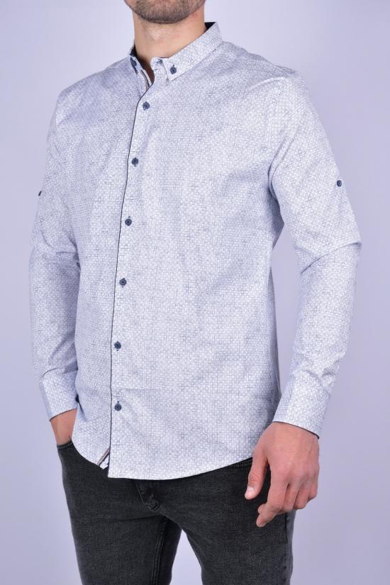 Рубашка мужская стрейчевая Slim Fit (цв.белый/т.синий) G-PORT Размеры в наличии : 46, 48, 50, 52, 54 арт.260