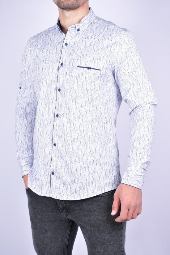 Рубашка мужская стрейчевая Slim Fit (цв.белый/т.синий) G-PORT Размеры в наличии : 46, 48, 50, 52, 54 арт.265
