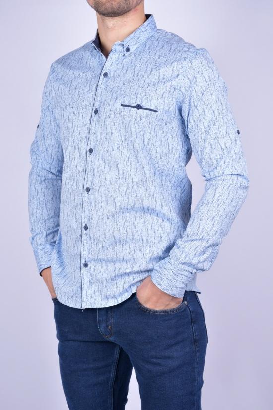 Рубашка мужская стрейчевая Slim Fit (цв.голубой/т.синий) G-PORT Размеры в наличии : 46, 48, 50, 52, 54 арт.265