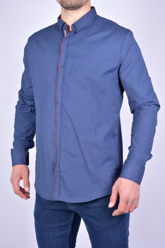 Рубашка мужская стрейчевая Slim Fit (цв.т.синий/бордовый) G-PORT Размеры в наличии : 46, 48, 50, 52, 54 арт.235