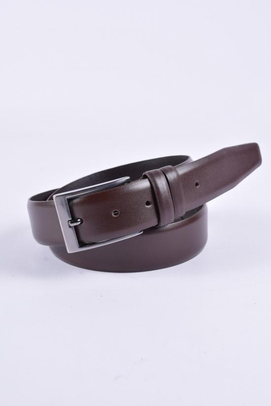 Ремень мужской кожаный (цв.коричневый) ширина 3.5см Guard арт.K-101