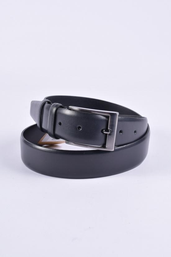 Ремень мужской кожаный (цв.чёрный) Guard ширина 3,5см. арт.K-101
